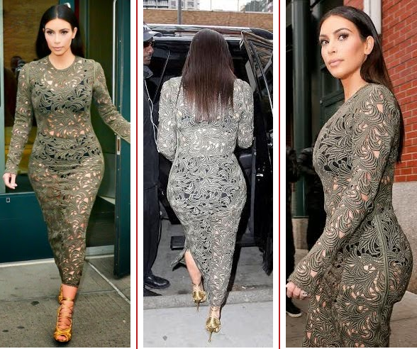 Kim Kardashian  Underwear In See Through Dress
