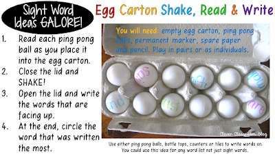 5 Sight Word Activities that are FUN: Egg Carton Shake read Write