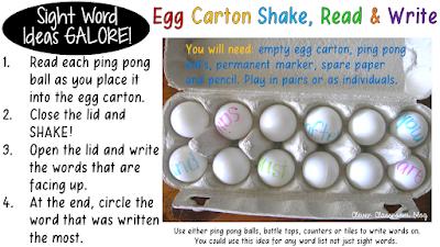 5 Sight Word Activities that are FUN: Egg Carton Shake read Write