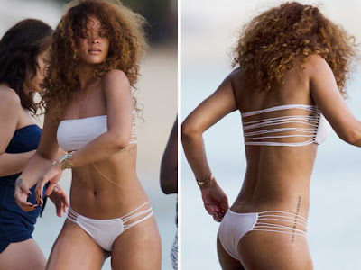 Rihanna white bikini beauty in Barbados beach