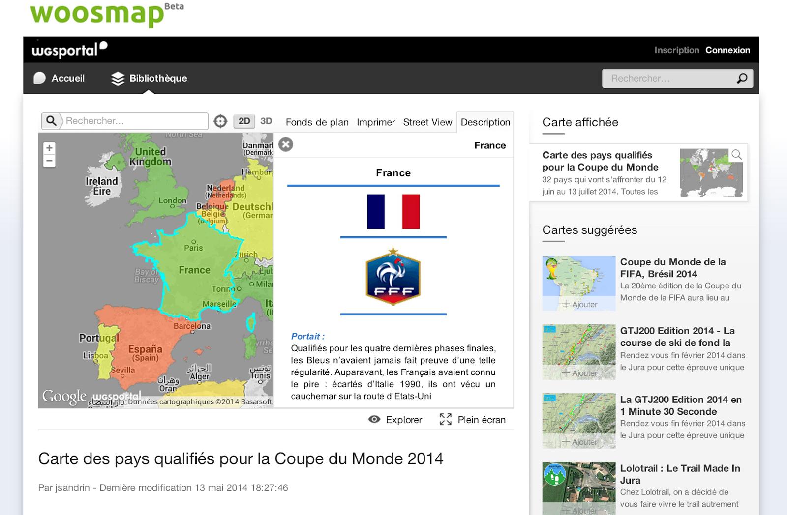 Geo by the cloud les pays pr sents la coupe du monde fifa 2014 - Carte coupe du monde 2014 ...