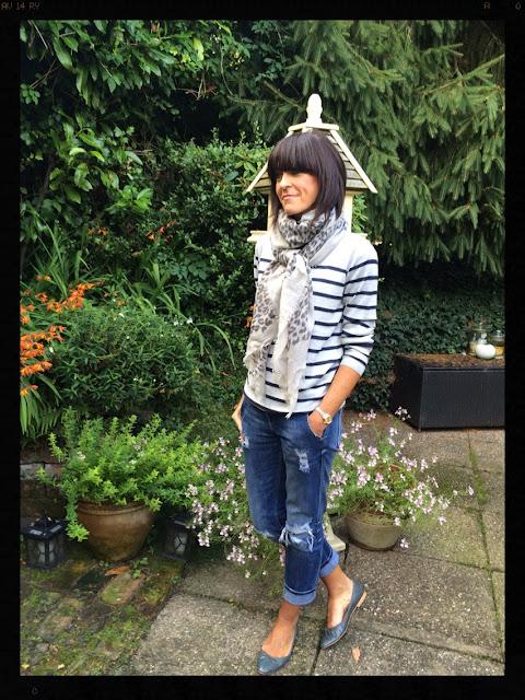 Hush, Hush homewear, Hush stripe jumper, My Midlife Fashion, Pattern clashing, Stripes with leopard print