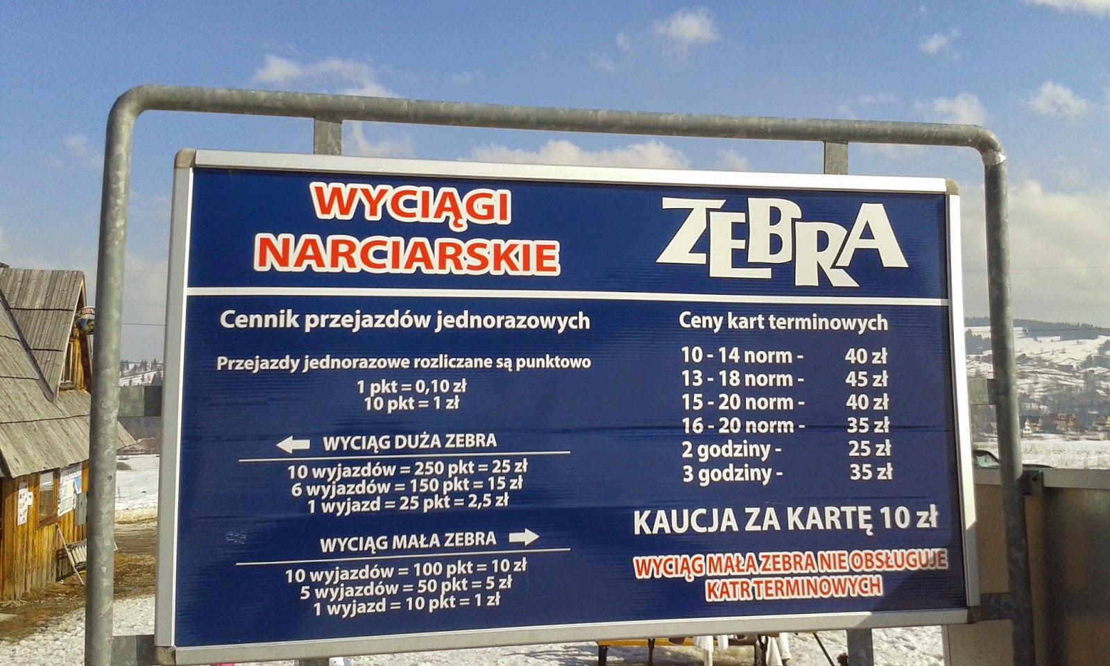 Wyciąg narciarski Zebra cennik
