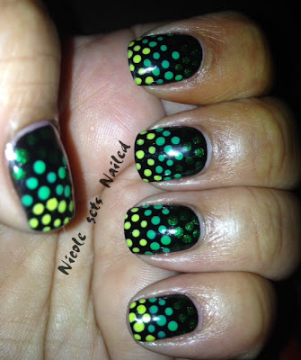 Green Gradient Polka Dots on Black