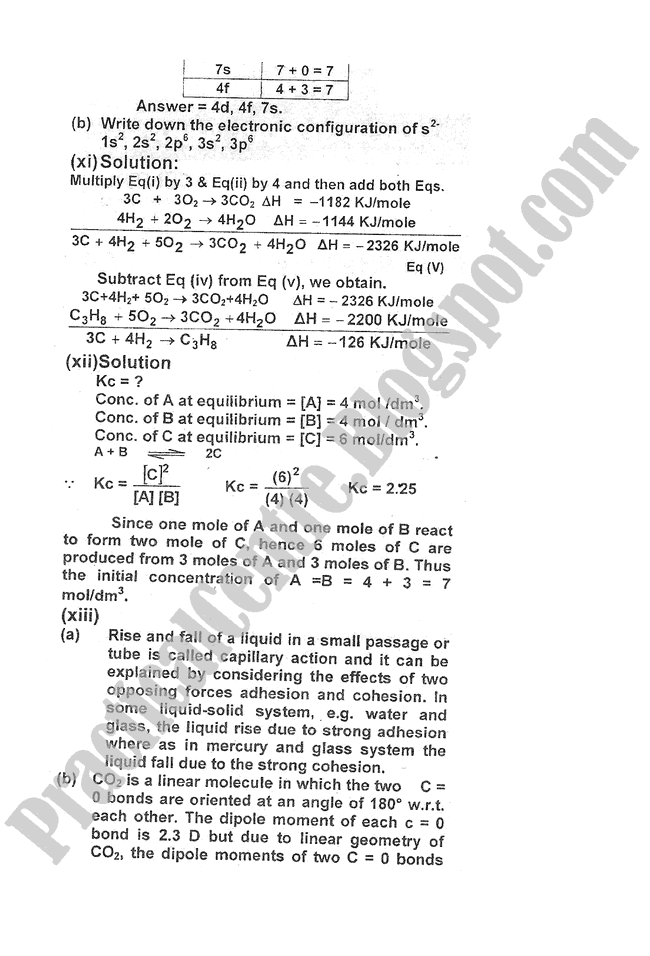Chemistry-Numericals-Solve-2009-five-year-paper-class-XI