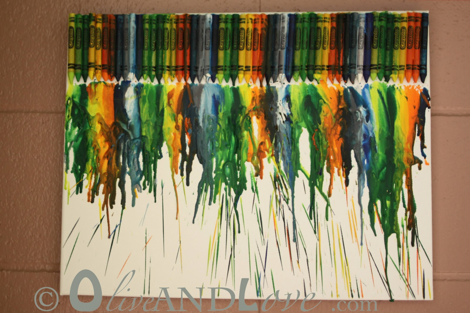 Olive and love melted crayons on canvas for How to melt crayons on canvas