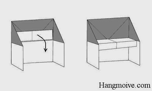 Bước 10: Ta thả miếng giấy đã gập ở trên sao cho vuông góc để hình thành phím đàn.