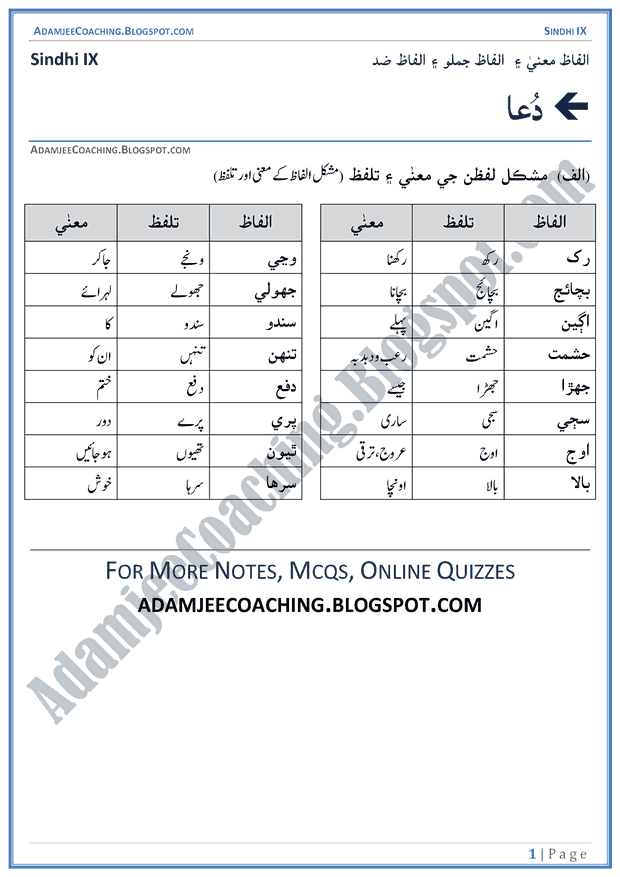 dua-words-meanings-and-idioms-sindhi-notes-for-class-9th