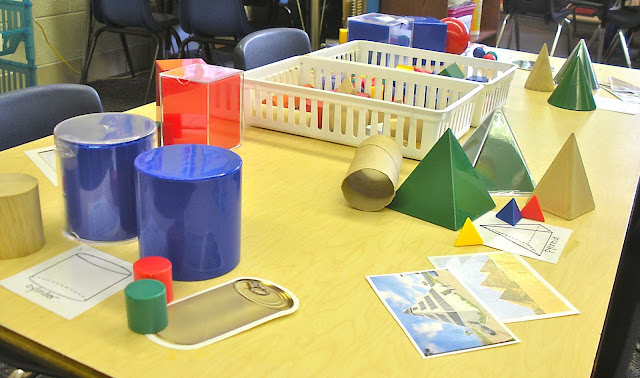 Create a Solid Figure Learning Station in the classroom where students can sort photos and objects by shape