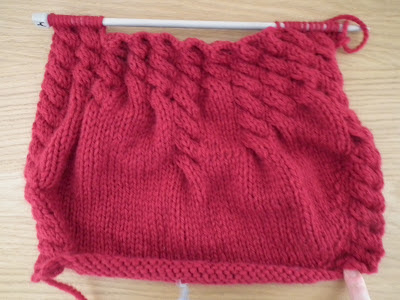 red cable bag, knitted