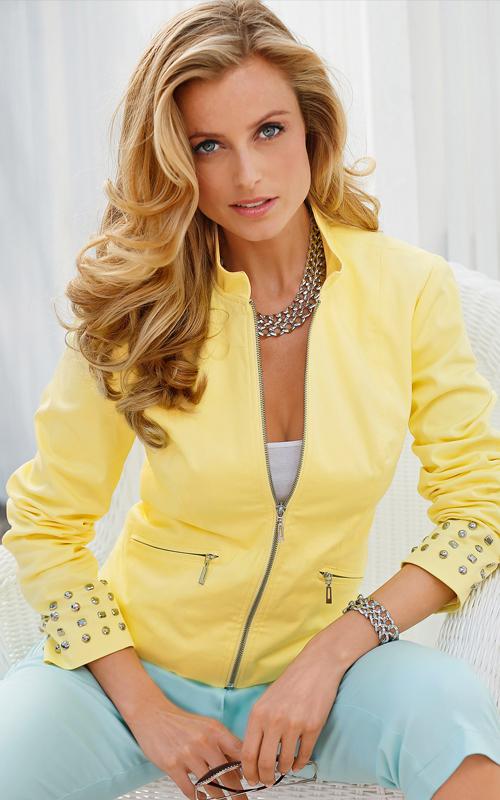Veste blazer couleur citron en coton