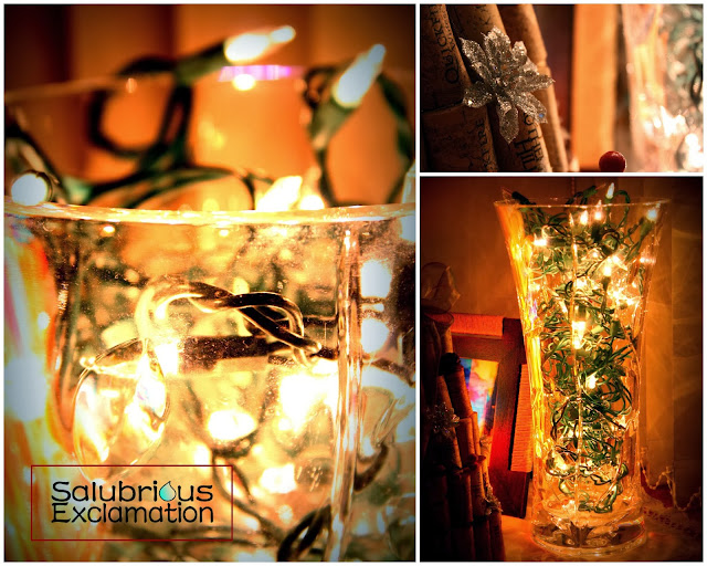 Make a Vase Lamp with Christmas Lights