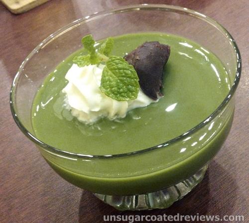 matcha green tea pudding at go-en Ramen