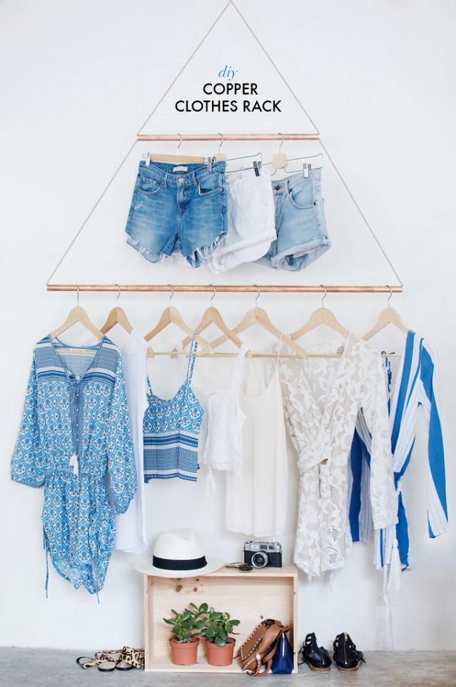 DIY perchero pared para tienda de ropa