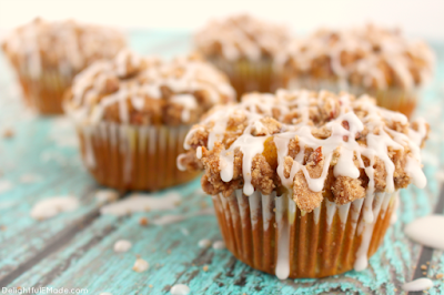 Pumpkin Apple Streusel Muffins, shared by Delightful E Made