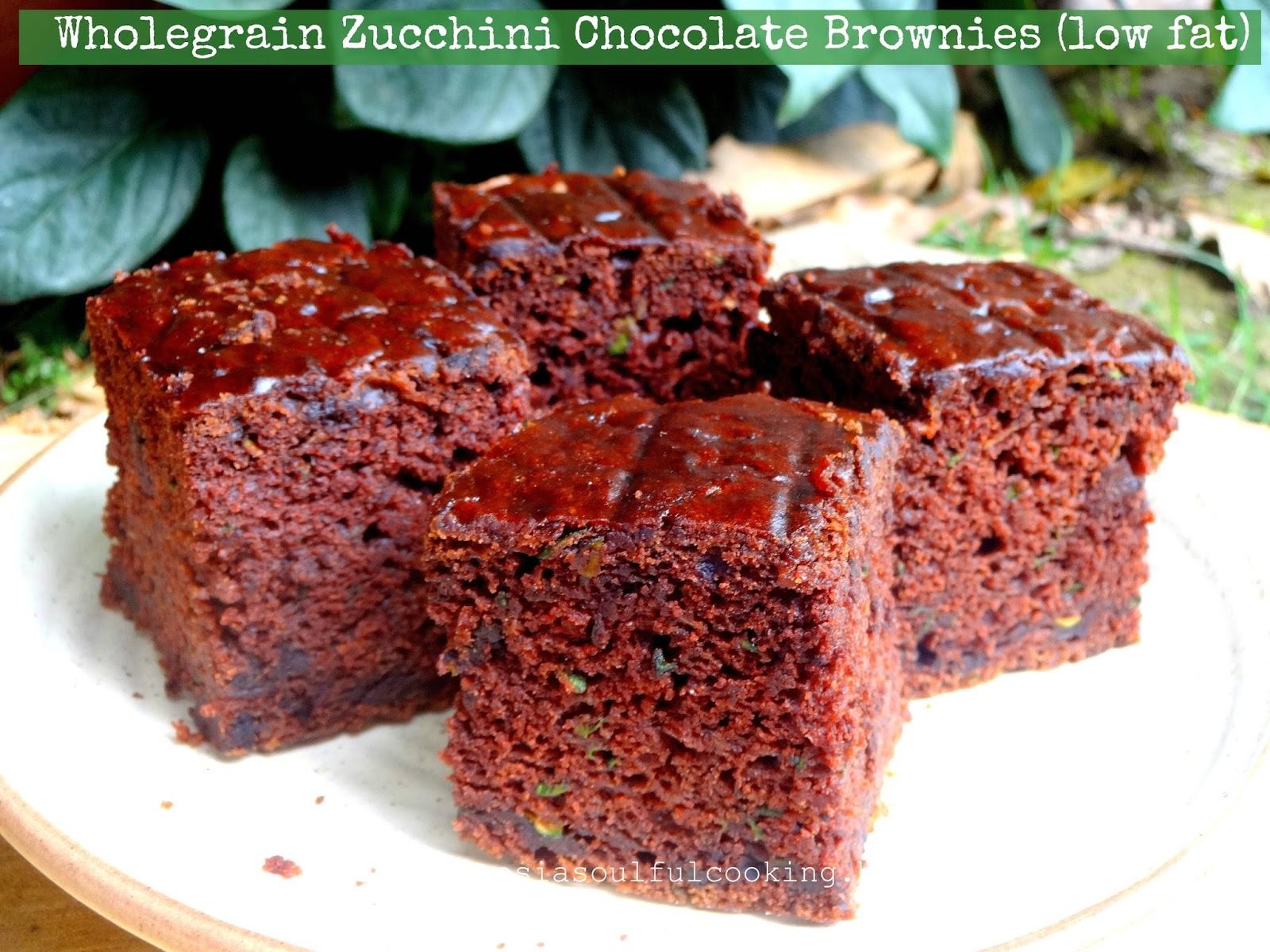 wholegrain vegan zucchini chocolate brownies (low fat)