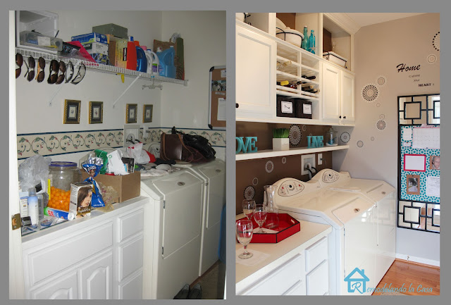 before and after of laundry room makeover