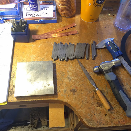 Hammer, stamps and bench block for stamping bracelet