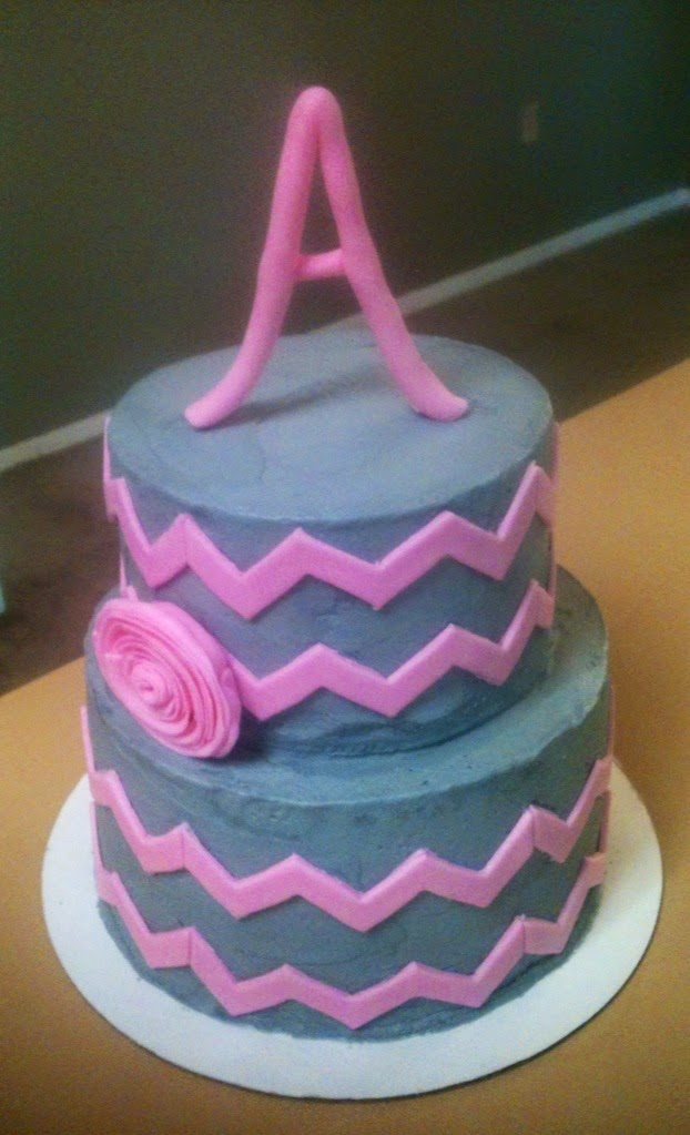 Chevron print baby shower cake