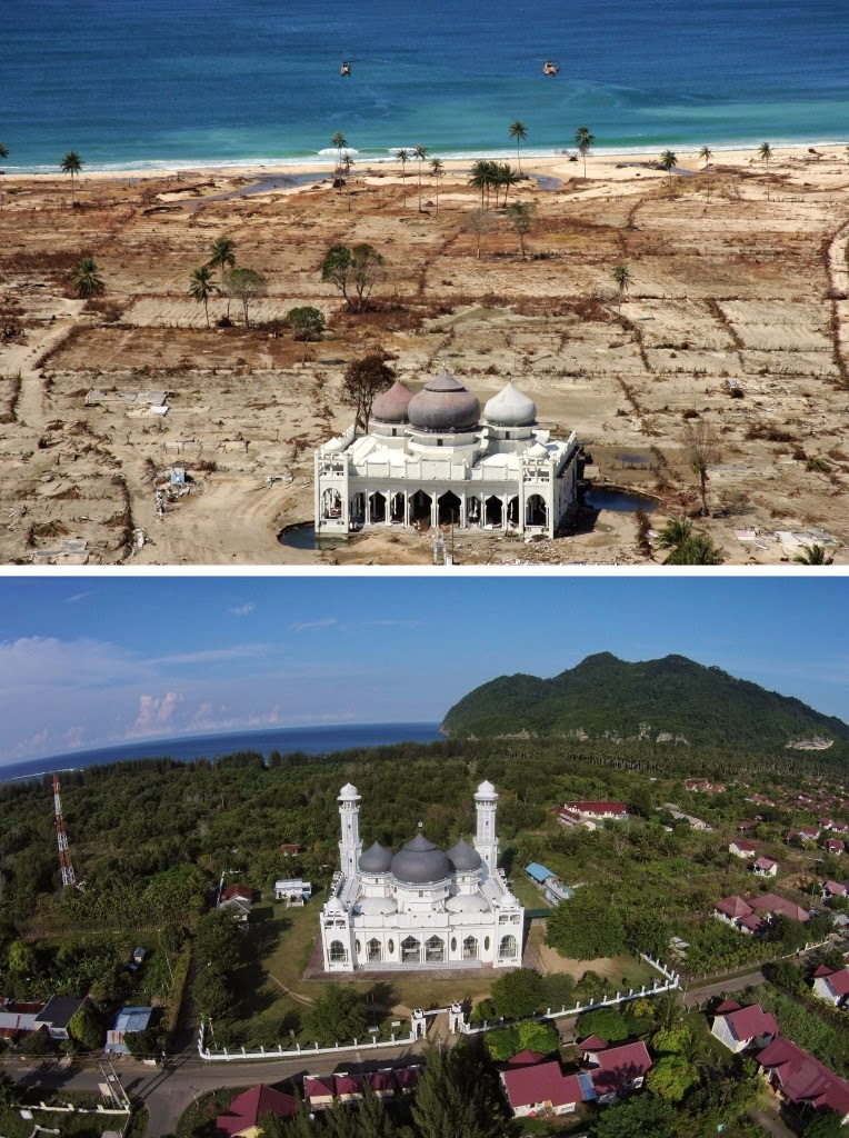 This combo shows a file photo (top) taken with a telephoto lens on Jan. 16, 2005 of a partly damaged mosque in the Lampuuk coastal district of Banda Aceh where surrounding houses were wiped out in the aftermath of the massive on Dec. 26, 2004 tsunami triggered by an earthquake and the same location photographed with a wide angle lens on Dec. 1, 2014 (bottom) showing the renovated mosque surrounded by new houses and rebuilt community. Indonesia will mark Dec. 26, 2014 the 10th year anniversary of the deadly tsunami which killed more than 170,000 people in Aceh, and tens of thousands of others in other countries around the Indian Ocean. (AFP Photo/ Joel Saget (top) and Chaideer Mahyuddin (bottom))