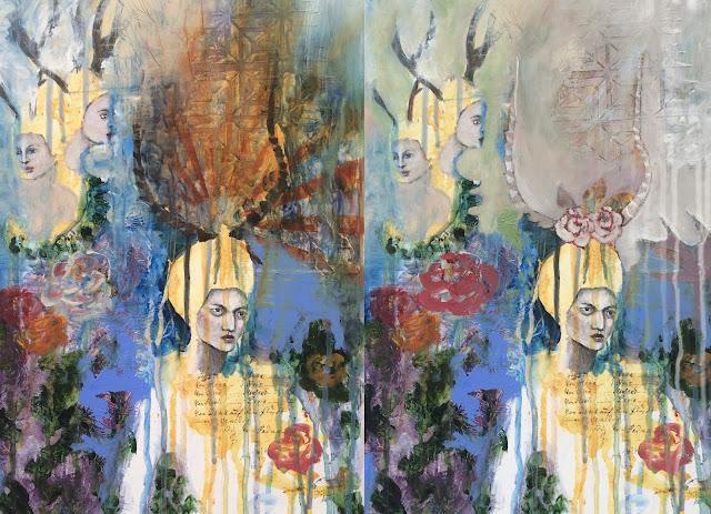 WIP- Through the Thinning Veils, Galia Alena, mixed media painting