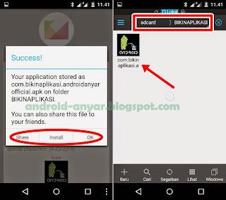 Folder simpan apk Bikin Aplikasi sendiri