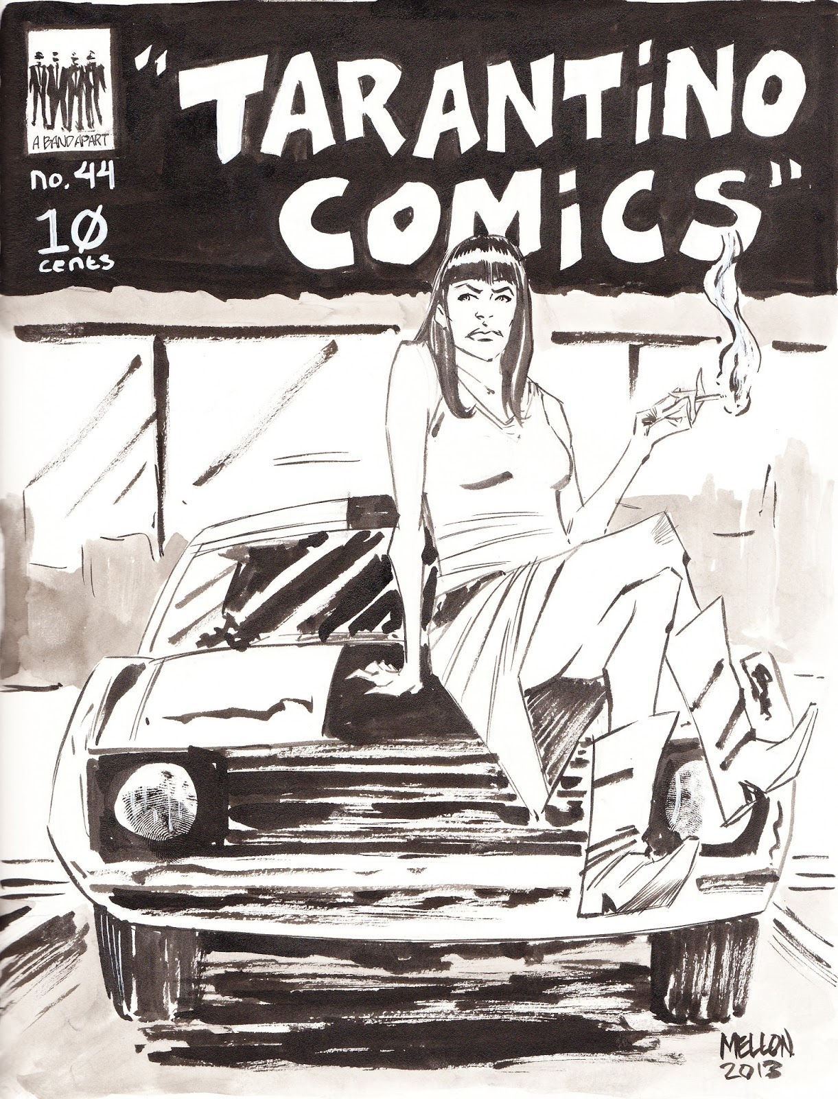 Inspired by death proof this beautiful cover features abernathy rosario dawson posing for the camera atop a 1972 ford mustang grande