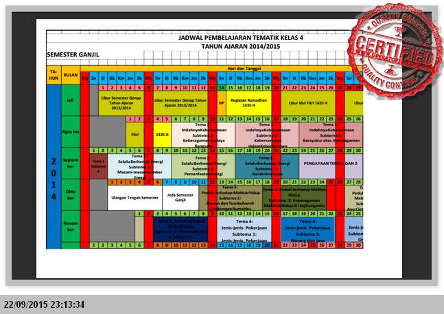 Contoh Format Jadwal Pembelajaran Kelas 1 2 4 5