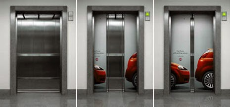 Fiat Punto creative ads in elevators