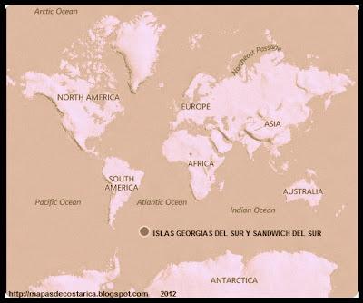 Ubicación de Las ISLAS GEORGIAS DEL SUR Y SANDWICH DEL SUR , Antartida en El Planisferio, BING 2012