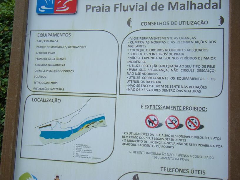 Equipamentos, Conselhos de Utilização, localização e proibições da praia fluvial do malhadal