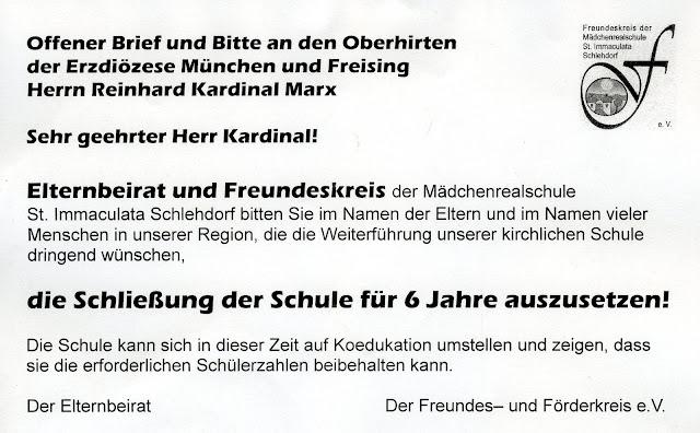 Offener Brief an Kardinal Marx