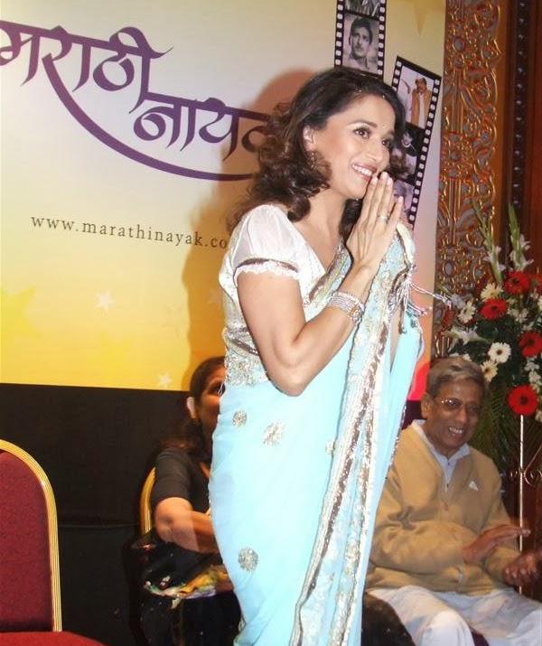 Madhuri Dixitin blue saree hottest unseen madhuri dixit pics hd