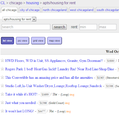 Searching for an apartment in Chicago on Craigslist