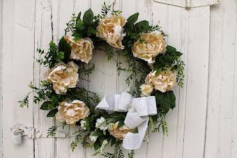 Cream Peony Wreath