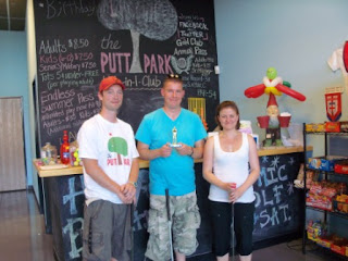 The Players on the 'Podium'. From l-r Ryan Cordes (3rd), Richard (1st), Emily (2nd)