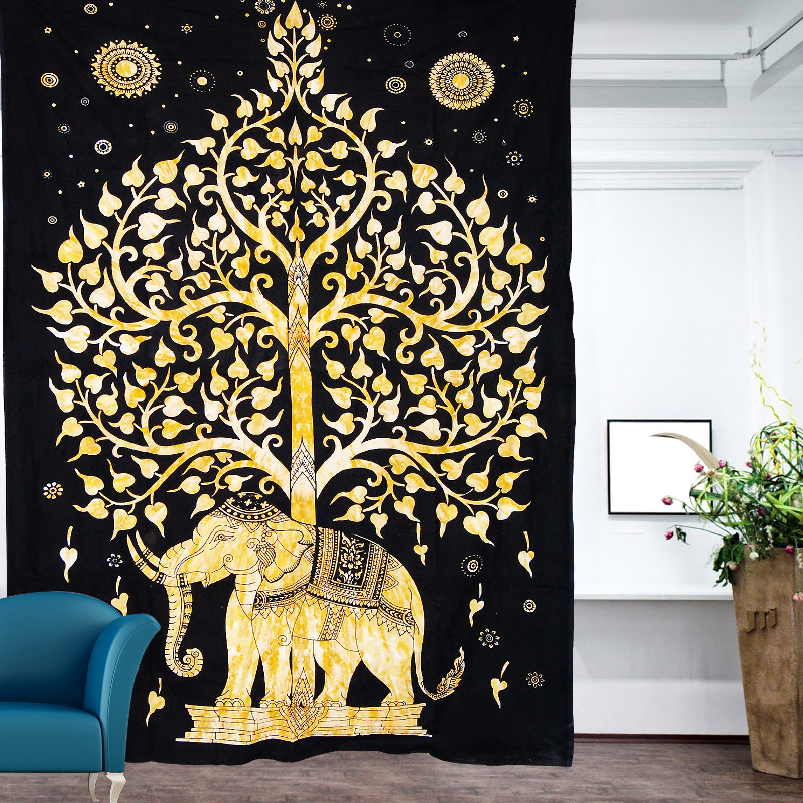 hippie tapestries mandala tapestries queen boho tapestries wall twin black and yellow indian elephant hippie tapestry wall hanging bedspread bed cover throw bohemian boho tree of life ethnic home decor