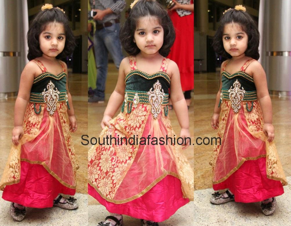 Cute Kid In Long Dress South India Fashion