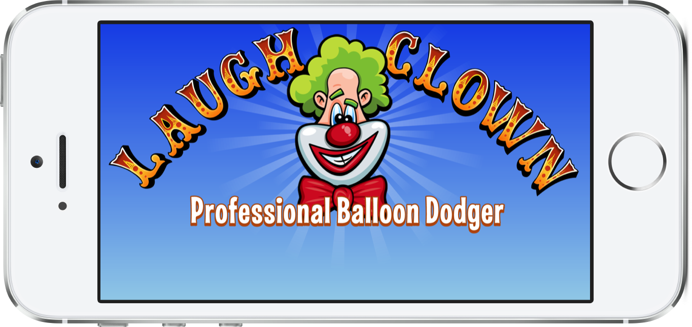 Laugh Clown Professional Balloon Dodger iOS game launch image displayed a white iPhone 5s.