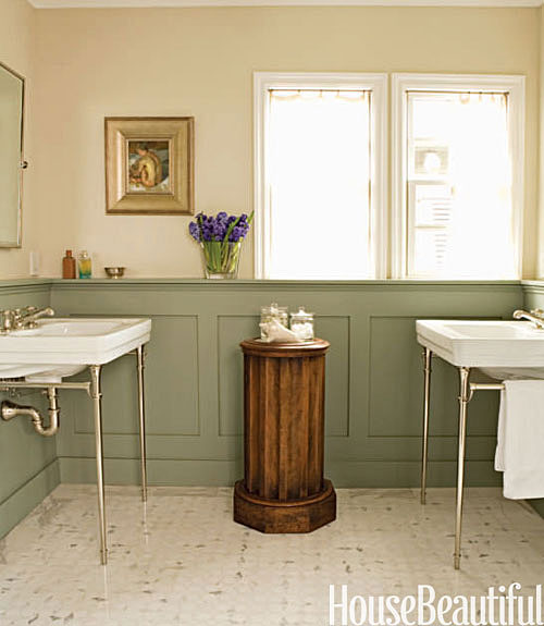Inspirations of old going green with color for Bathroom decor green walls