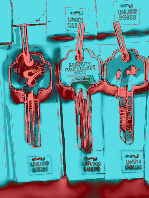 Key blanks outlined in hot pink on a turquoise background