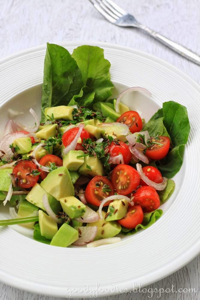 Avocado salad with Tomatoes, Shallots and Toasted Cumin Vinaigrette