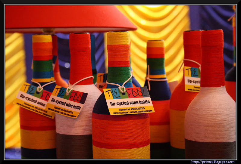 Up-cycled wine bottles