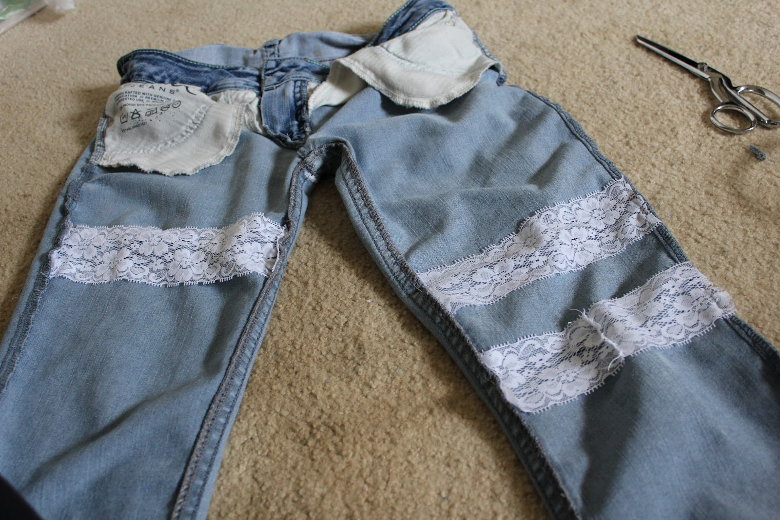 Re-purposed worn out jeans with lace