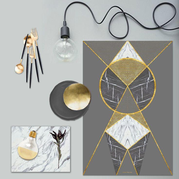 kunst print med guld effekt