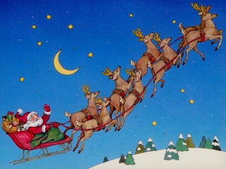 Smiling Santa Claus flying on his reindeer over houses in moon and star background Christmas wallpaper