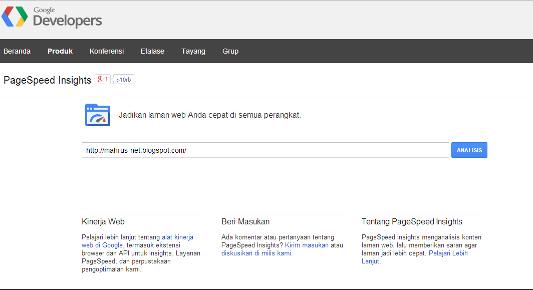 Cek loading blog Google PageSpeed Insights