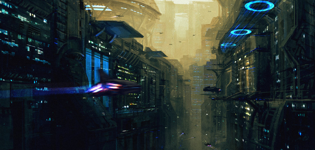 Dark Futuristic City Scene With Sci-Fi Flying Ships