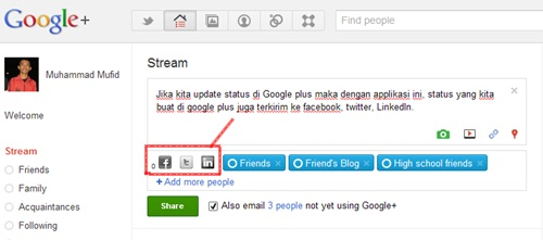 Menghubungkan Google Plus ke FB dan Twitter | Khamardos Blog