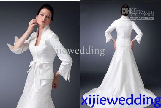 White Long Sleeve Jacket Islamic Wedding Dresses Sheath Muslim ...